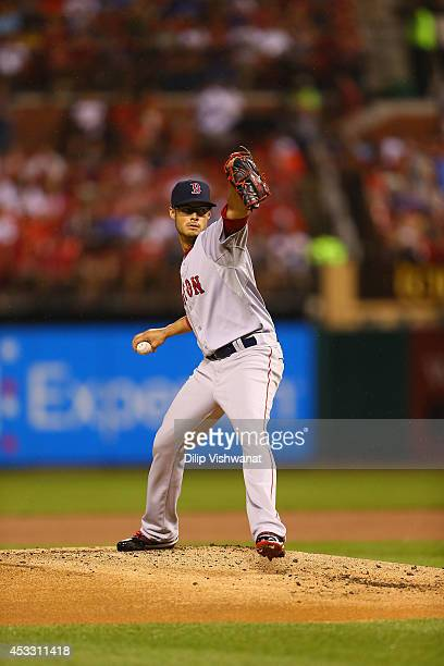 Joe Kelly of the Boston Red Sox pitches against the St Louis Cardinals at Busch Stadium on August 6 2014 in St Louis Missouri