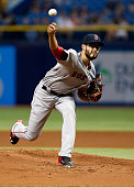 Joe Kelly of the Boston Red Sox pitches during the first inning of a game against the Tampa Bay Rays on April 22 2015 at Tropicana Field in St...