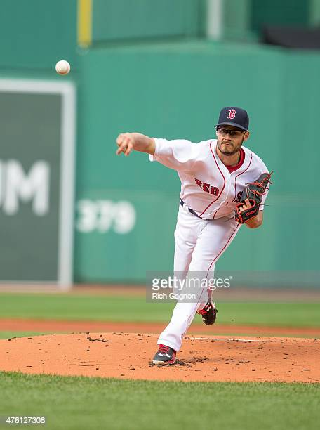 Joe Kelly of the Boston Red Sox pitches during the first inning against the Oakland Athletics at Fenway Park on June 6 2015 in Boston Massachusetts