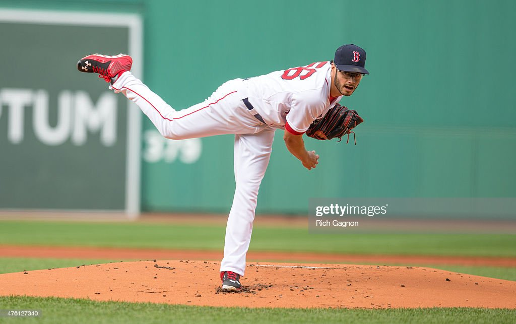 Joe Kelly #56 of the Boston Red Sox pitches during the first inning against the Oakland Athletics at Fenway Park on June 6, 2015 in Boston, Massachusetts.