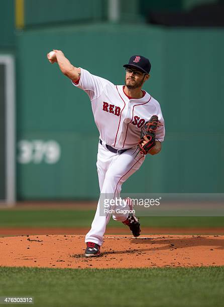 Joe Kelly of the Boston Red Sox pitches during the first inning against the Oakland Athletics at Fenway Park on June 6 2015 in Boston Massachusetts...