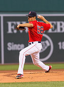 Joe Kelly of the Boston Red Sox pitches during the first inning against the Philadelphia Phillies at Fenway Park on September 4 2015 in Boston...
