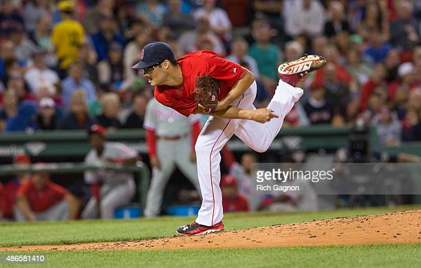 Joe Kelly of the Boston Red Sox pitches during the second inning against the Philadelphia Phillies at Fenway Park on September 4 2015 in Boston...