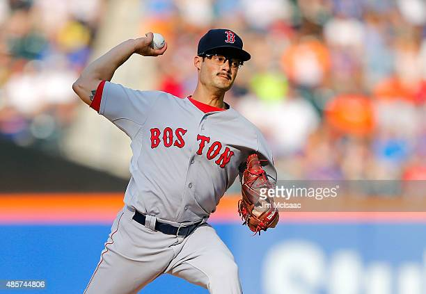 Joe Kelly of the Boston Red Sox pitches in the third inning against the New York Mets at Citi Field on August 29 2015 in the Flushing neighborhood of...
