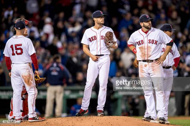 Joe Kelly of the Boston Red Sox reacts during the seventh inning of a game against the Chicago Cubs on April 30 2017 at Fenway Park in Boston...