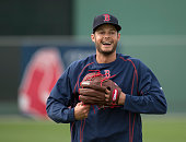 Joe Kelly of the Boston Red Sox smiles during a practice at Fenway South in Fort Myers Florida on February 27 2015