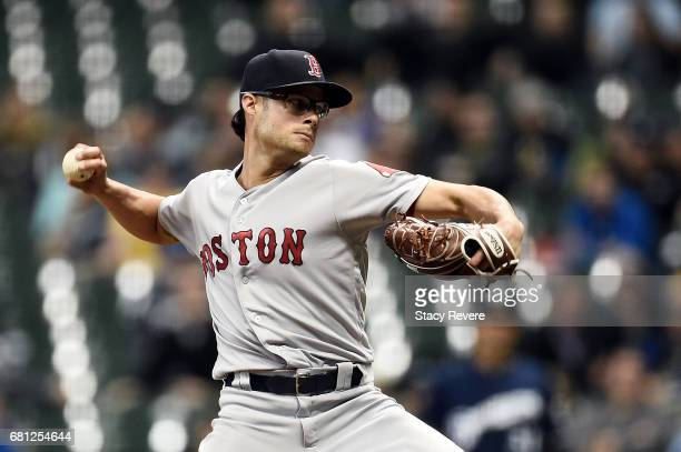 Joe Kelly of the Boston Red Sox throws a pitch during the eighth inning of a game against the Milwaukee Brewers at Miller Park on May 9 2017 in...