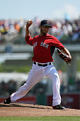 Joe Kelly of the Boston Red Sox throws a pitch during the first inning of a spring training game against the New York Mets at JetBlue Park at Fenway...