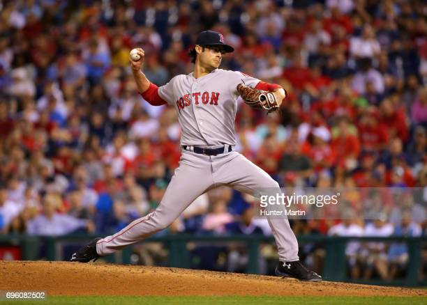 Joe Kelly of the Boston Red Sox throws a pitch in the seventh inning during a game against the Philadelphia Phillies at Citizens Bank Park on June 14...