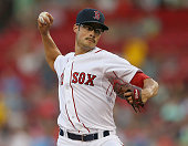 Joe Kelly of the Boston Red Sox throws against the Cleveland Indians on August 19 2015 in Boston Massachusetts