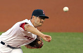Joe Kelly of the Boston Red Sox throws against the Cleveland Indians in the first inning on August 19 2015 in Boston Massachusetts