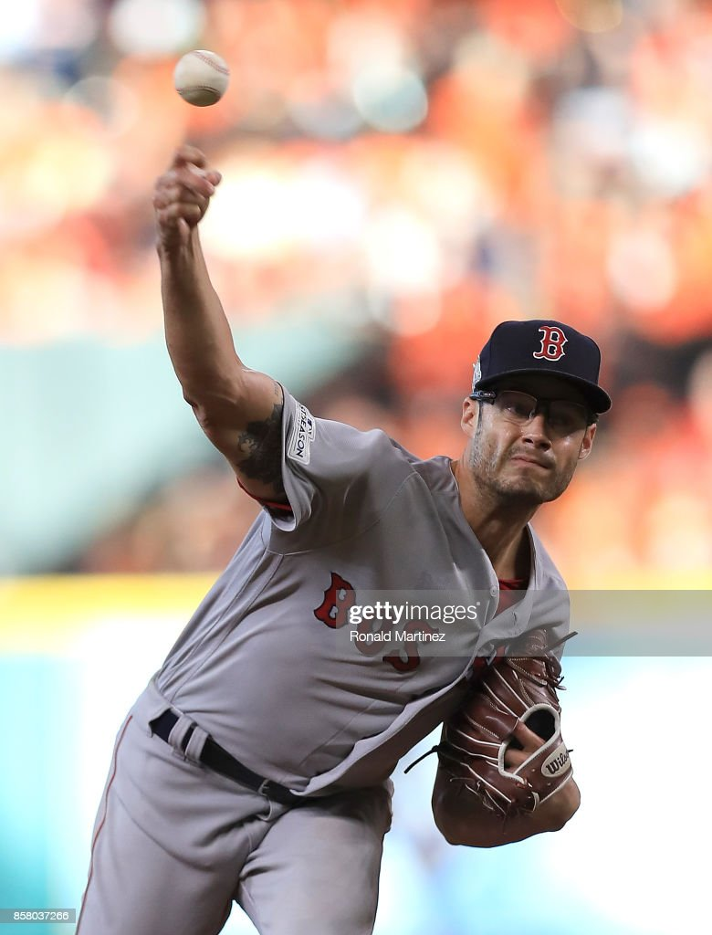 Joe Kelly #56 of the Boston Red Sox throws against the Houston Astros in the sixth inning during game one of the American League Division Series at Minute Maid Park on October 5, 2017 in Houston, Texas.