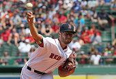 Joe Kelly of the Boston Red Sox throws against the the Tampa Bay Rays in the first inning at Fenway Park on August 1 2015 in Boston Massachusetts