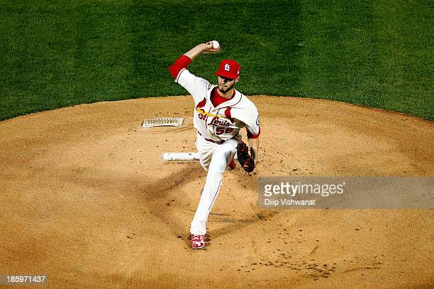 Joe Kelly of the St Louis Cardinals pitches against the Boston Red Sox during Game Three of the 2013 World Series at Busch Stadium on October 26 2013...