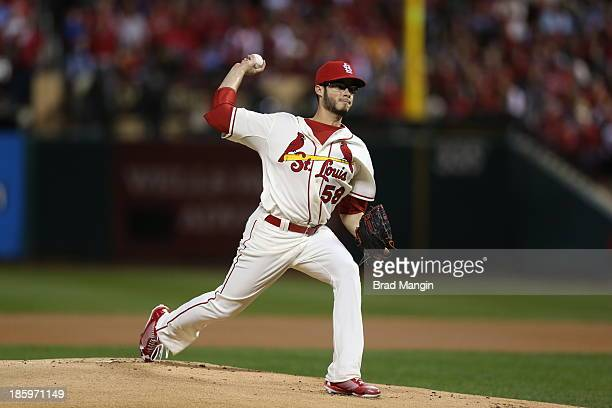 Joe Kelly of the St Louis Cardinals pitches during Game 3 of the 2013 World Series against the Boston Red Sox at Busch Stadium on Saturday October 26...