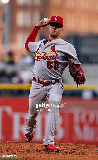 Joe Kelly of the St Louis Cardinals pitches in the first inning against the Pittsburgh Pirates during the game at PNC Park April 5 2014 in Pittsburgh...