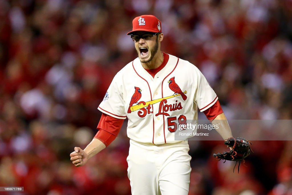 Joe Kelly of the St Louis Cardinals reacts after the last out in the top of the fourth inning against the Boston Red Sox during Game Three of the...