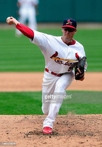 Joe Kelly of the St Louis Cardinals throws to a Cleveland Indians batter during his major league debut at Busch Stadium on June 10 2012 in St Louis...