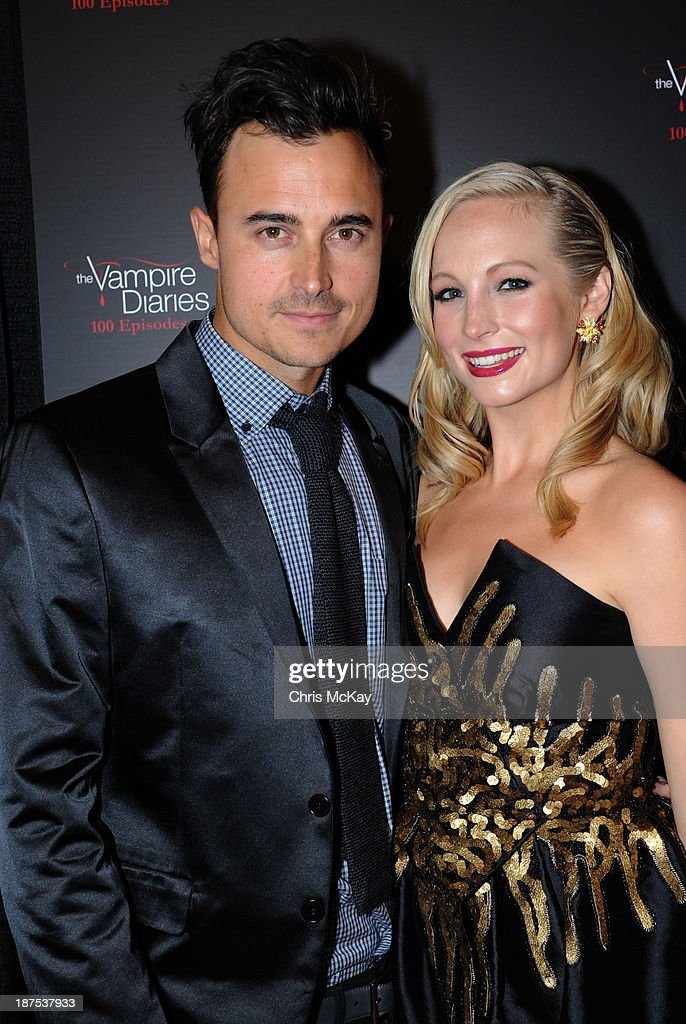 Joe King and <a gi-track='captionPersonalityLinkClicked' href=/galleries/search?phrase=Candice+Accola&family=editorial&specificpeople=2335285 ng-click='$event.stopPropagation()'>Candice Accola</a> attend The Vampire Diaries 100th Episode Celebration on November 9, 2013 in Atlanta, Georgia.