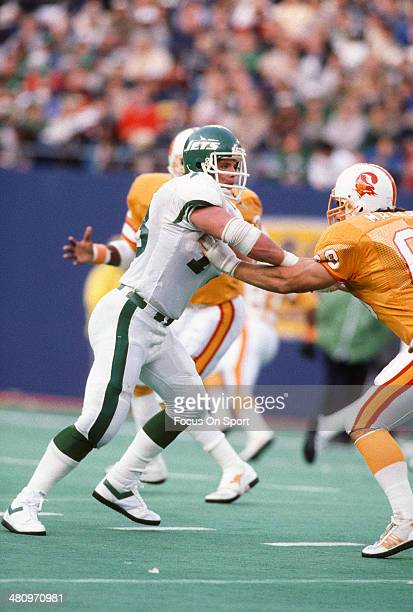 Joe Klecko of the New York Jets in action against Rick Mallory of the Tampa Bay Buccaneers during an NFL football game at Giant Stadium November 17...