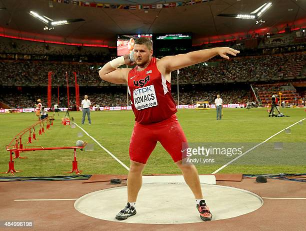 Joe Kovacs of the United States competes in the Men's Shot Put Final during day two of the 15th IAAF World Athletics Championships Beijing 2015 at...