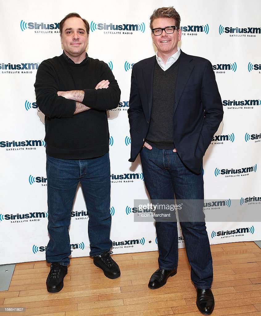 Joe Kraemer (L) and Christopher McQuarrie visit the SiriusXM Studios on December 18, 2012 in New York City.