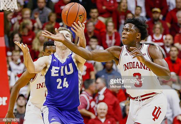 Joe Kuligoski of the Eastern Illinois Panthers and OG Anunoby of the Indiana Hoosiers battles for a loose ball at Assembly Hall on November 13 2015...