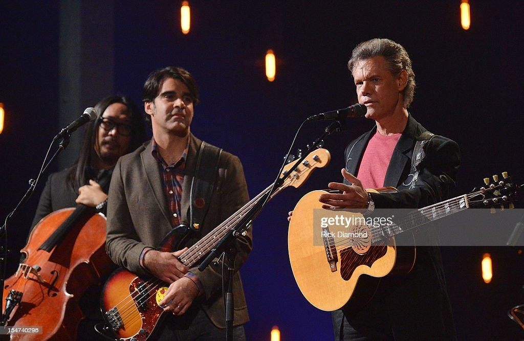 Joe Kwon - Avett Brothers, Bob Crawford - Avett Brothers and Randy Travis perform during CMT Crossroads: The Avett Brothers And Randy Travis tape at The Factory, Liberty Hall in Franklin, Tennessee on October 24, 2012 The Avett Brothers And Randy Travis airs only on CMT November 23rd 2012