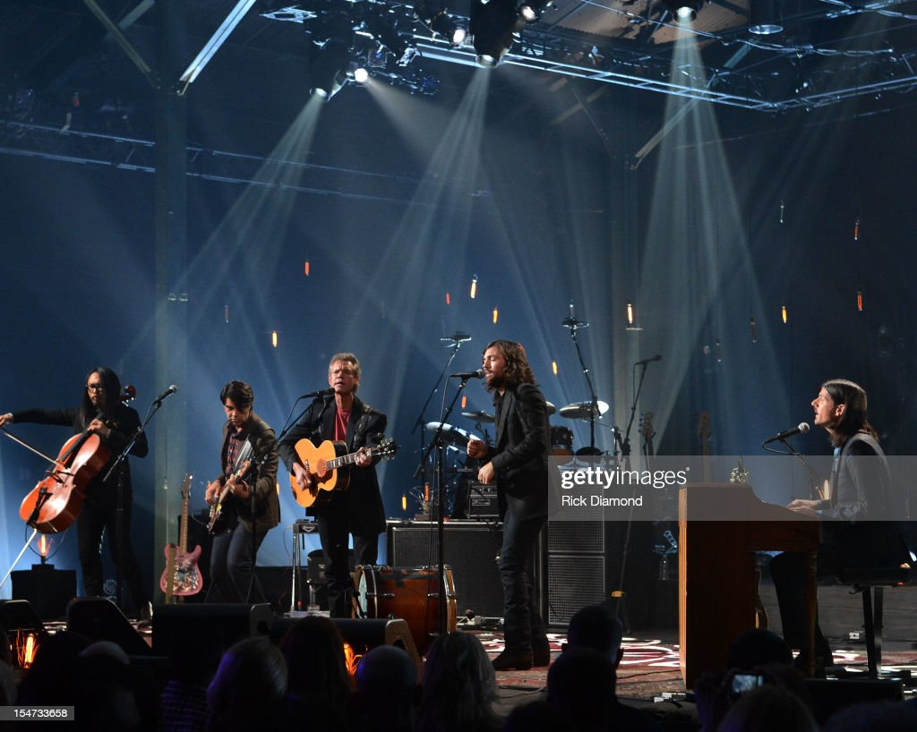 Joe Kwon - Avett Brothers, Bob Crawford - Avett Brothers, Randy Travis, Scott Avett and Seth Avett perform during CMT Crossroads: The Avett Brothers And Randy Travis tape at The Factory, Liberty Hall in Franklin, Tennessee on October 24, 2012 The Avett Brothers And Randy Travis airs only on CMT November 23rd 2012