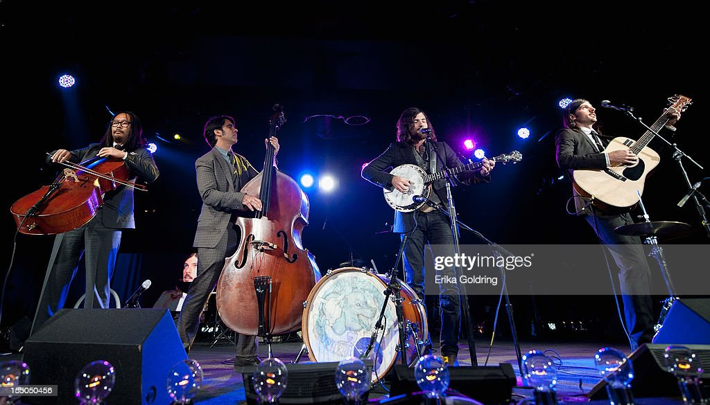 Joe Kwon, Bob Crawford, Scott Avett and Seth Avett of The Avett Brothers perform at the 60th annual BMI Country awards at BMI on October 30, 2012 in Nashville, Tennessee.