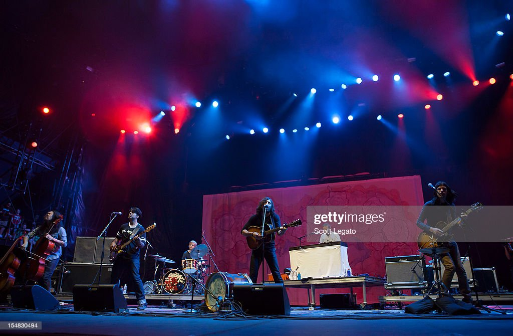 ) Joe Kwon, Bob Crawford, Scott Avett, Jacob Edwards and Seth Avett of The Avett Brothers perform during the 2012 Voodoo Experience at City Park on October 26, 2012 in New Orleans, Louisiana.