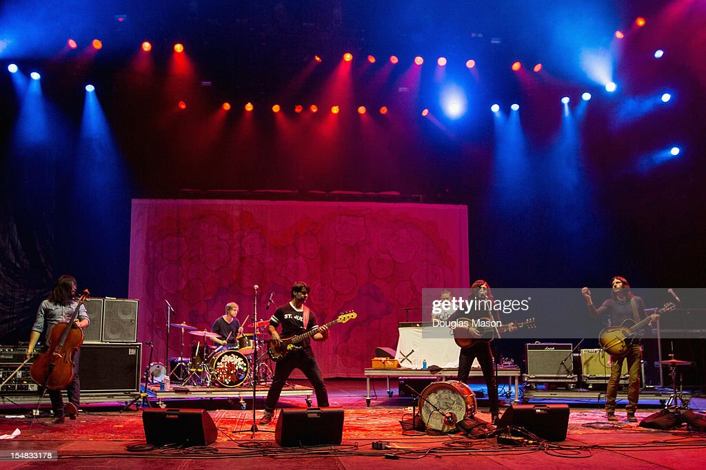 Joe Kwon, Jacob Edwards, Bob Crawford, Scott Avett, and Seth Avett of The Avett Brothers perform during the 2012 Voodoo Experience at City Park on October 26, 2012 in New Orleans, Louisiana.