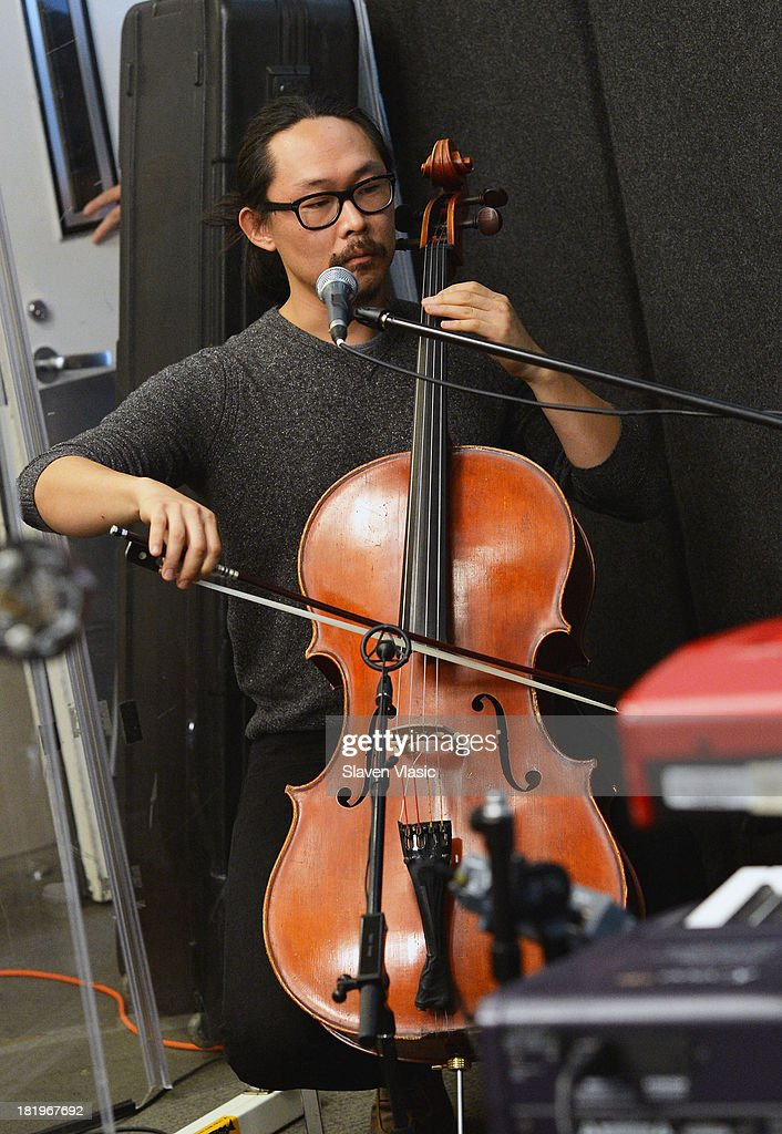 Joe Kwon of The Avett Brothers performs at SiriusXM Studios on September 26, 2013 in New York City.