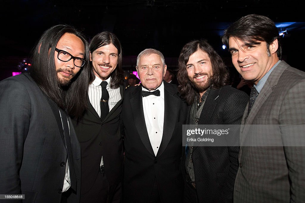 Joe Kwon, Seth Avett, Tom T. Hall, Scott Avett and Bob Crawford of The Avett Brothers attend 60th annual BMI Country awards at BMI on October 30, 2012 in Nashville, Tennessee.
