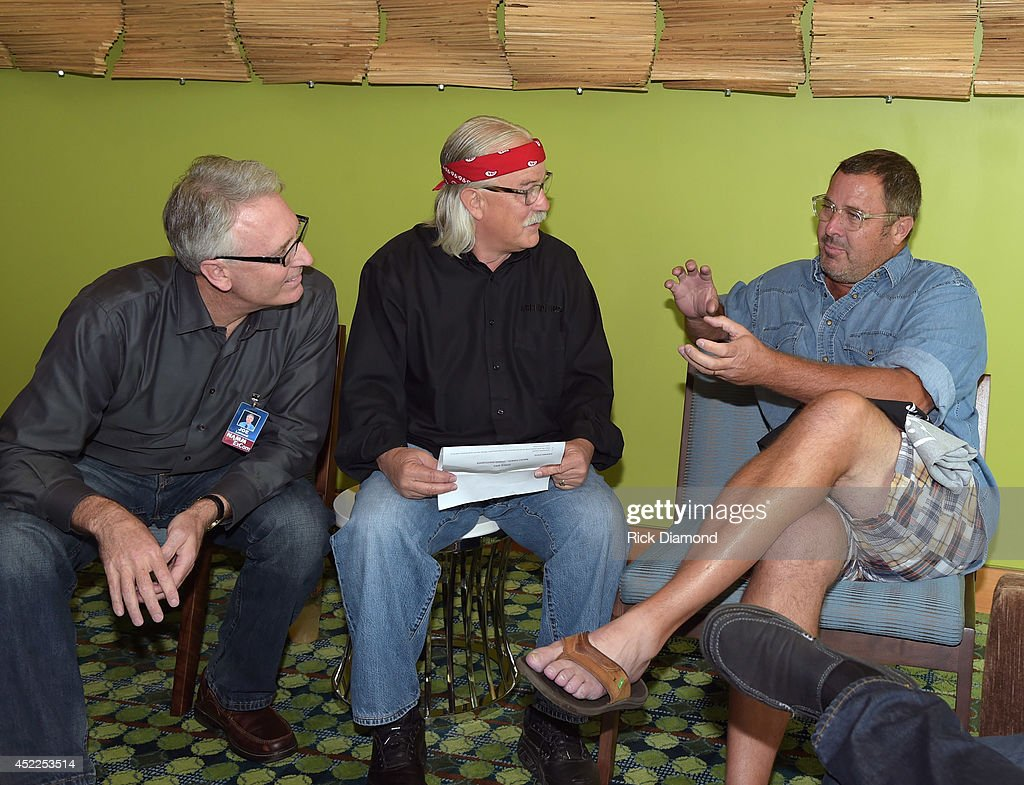 Joe Lamond President CEO NAMM Tom Bedell of Two Old Hippies and Vince Gill backstage before Vince Gill Hosts 'Insight Iconic Artists And The Gear...