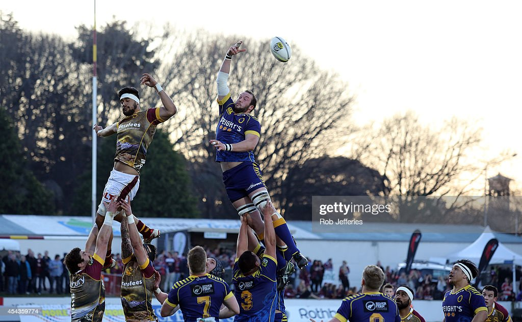 Joe Latta of Otago wins line-out ball despite the attempts of Michael Fatialofa of Southland during the ITM Cup match between Southland and Otago on August 30, 2014 in Invercargill, New Zealand.