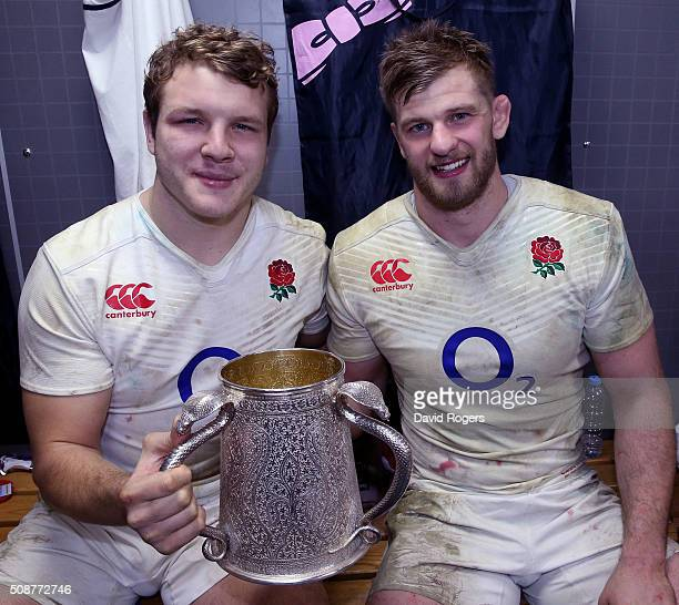 Joe Launchbury and George Kruis of England pose with the Calcutta Cup following their team's victory during the RBS Six Nations match between...