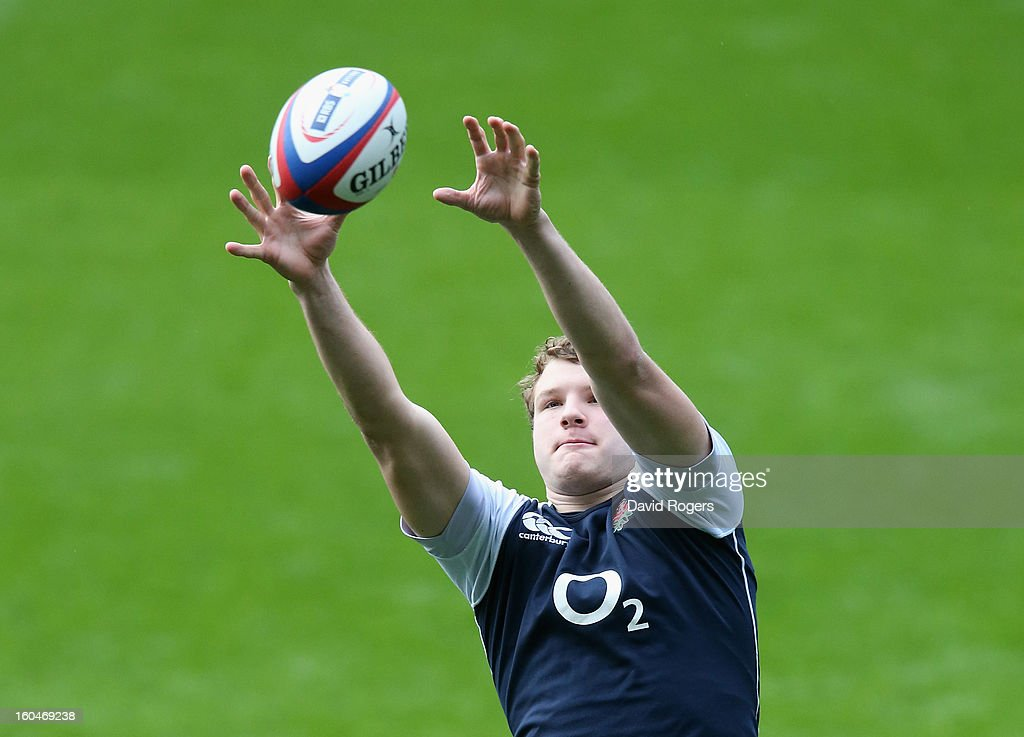 Joe Launchbury catches the lineout ball during the England captain's run at Twickenham Stadium on February 1, 2013 in London, England.