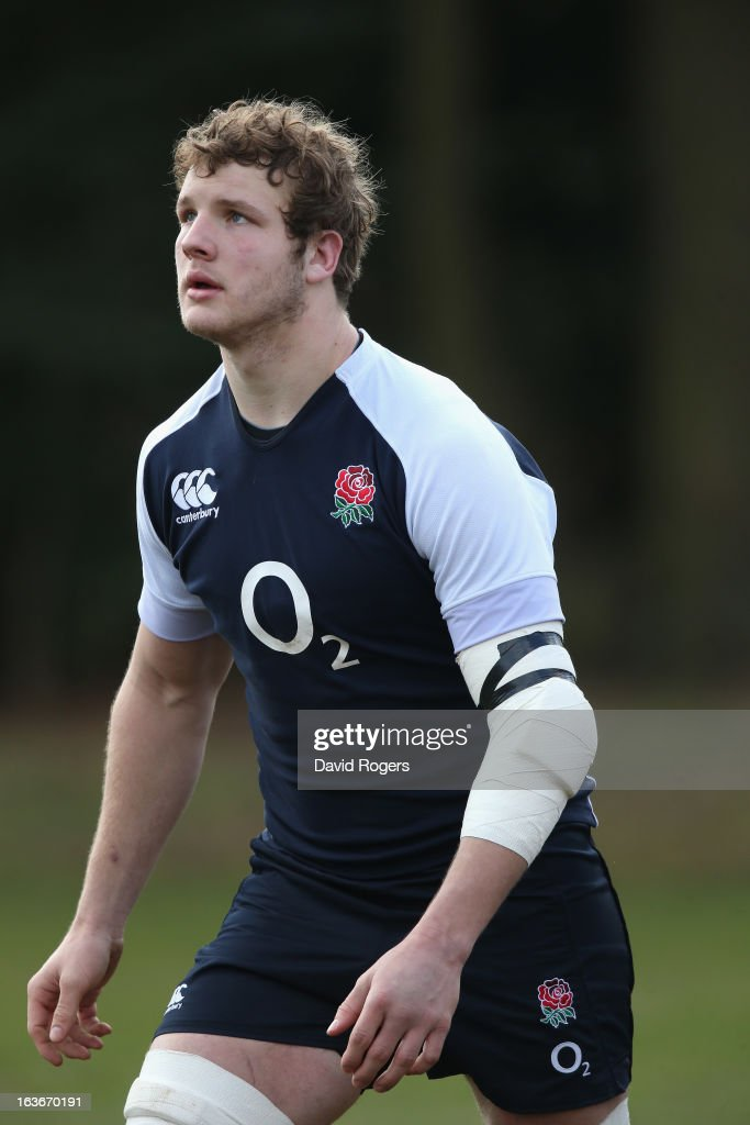 Joe Launchbury looks on during the England training session at Pennyhill Park on March 14, 2013 in Bagshot, England.