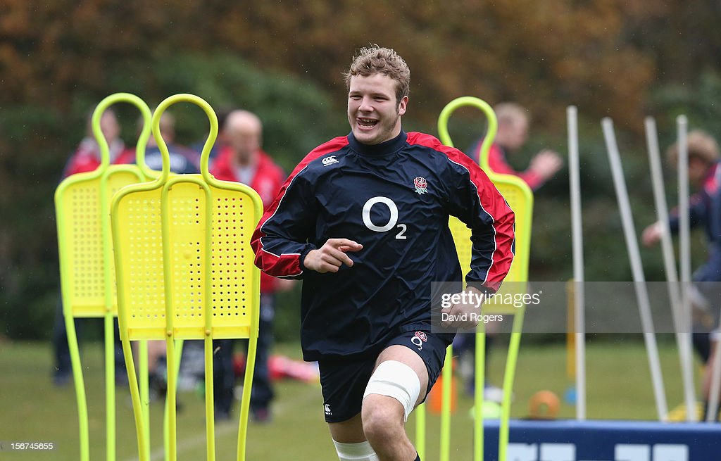 Joe Launchbury looks on during the England training session held at Pennyhill Park on November 20, 2012 in Bagshot, England.