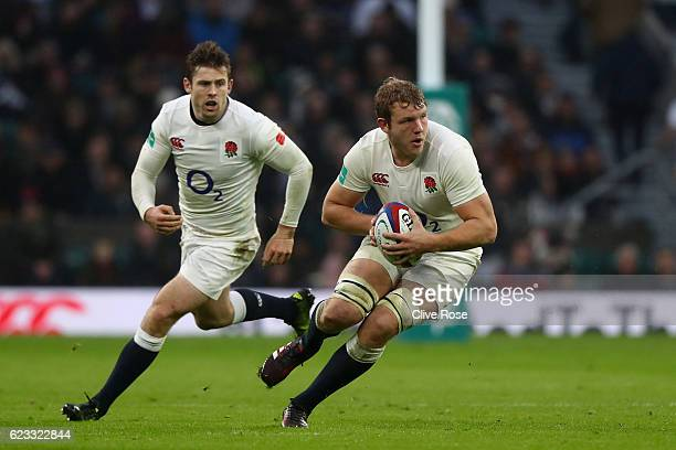 Joe Launchbury of England attacks with teammate Elliot Daly in support during the Old Mutual Wealth Series match between England and South Africa at...