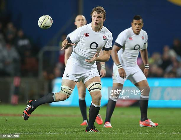 Joe Launchbury of England catches the ball during the International Test match between the New Zealand All Blacks and England at Waikato Stadium on...
