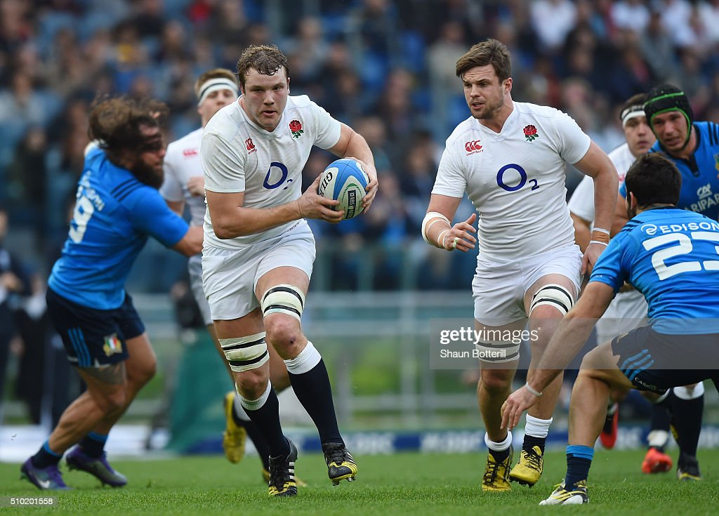 <a gi-track='captionPersonalityLinkClicked' href=/galleries/search?phrase=Joe+Launchbury&family=editorial&specificpeople=7440712 ng-click='$event.stopPropagation()'>Joe Launchbury</a> of England gets support from Jack Clifford of England as he charges upfield during the RBS Six Nations match between Italy and England at the Stadio Olimpico on February 14, 2016 in Rome, Italy.