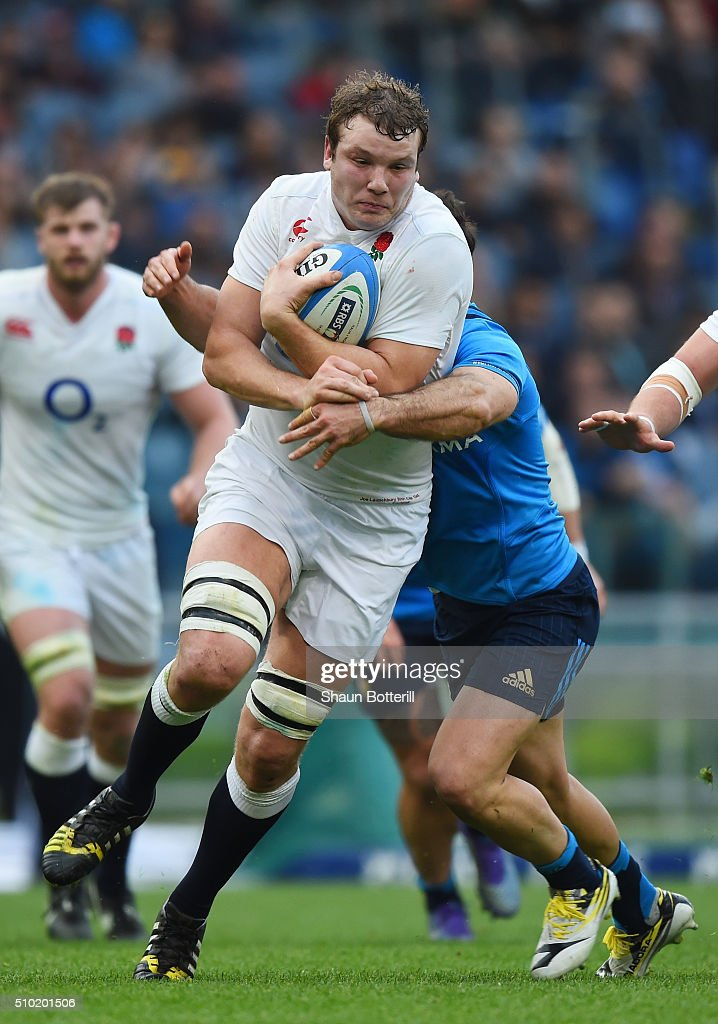 <a gi-track='captionPersonalityLinkClicked' href=/galleries/search?phrase=Joe+Launchbury&family=editorial&specificpeople=7440712 ng-click='$event.stopPropagation()'>Joe Launchbury</a> of England is tackled by Andrea Pratichetti of Italy during the RBS Six Nations match between Italy and England at the Stadio Olimpico on February 14, 2016 in Rome, Italy.