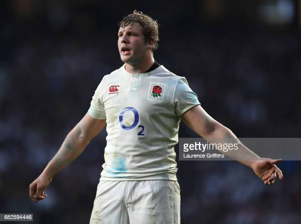Joe Launchbury of England looks on during the RBS Six Nations match between England and Scotland at Twickenham Stadium on March 11 2017 in London...