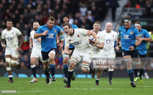 Joe Launchbury of England makes a break during the RBS Six Nations match between England and Italy at Twickenham Stadium on February 26 2017 in...