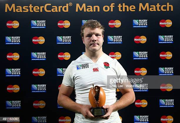 Joe Launchbury of England poses with the Man of the Match award during the 2015 Rugby World Cup Pool A match between England and Australia at...