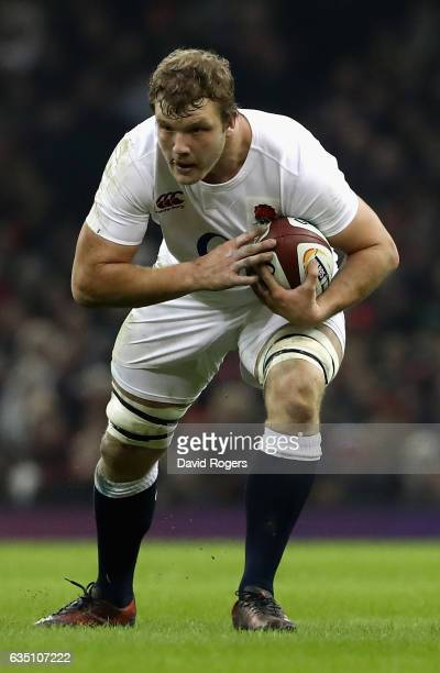 Joe Launchbury of England runs with the ball during the RBS Six Nations match between Wales and England at the Principality Stadium on February 11...