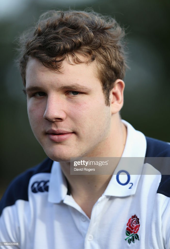 Joe Launchbury of England talks to the media after an England training session at Pennyhill Park on January 31, 2013 in Bagshot, England.
