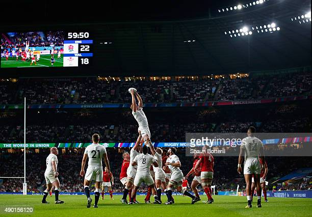 Joe Launchbury of England wins the line out ball during the 2015 Rugby World Cup Pool A match between England and Wales at Twickenham Stadium on...